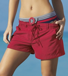 Short de plage uni ROUGE
