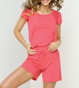 Pyjama Short Tressage Graphic CORAIL