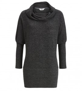 Pull cocooning col boule pour femme ANTHRACITE