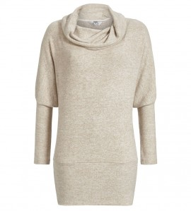 Pull cocooning col boule pour femme BEIGE