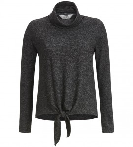 Pull femme noeud et col boule ANTHRACITE