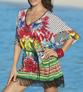 Robe Poncho de plage à franges MULTICOLOR