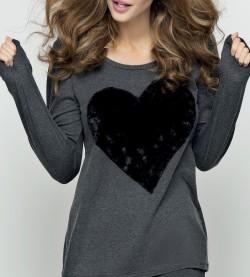 T-shirt manches longues coeur GRIS