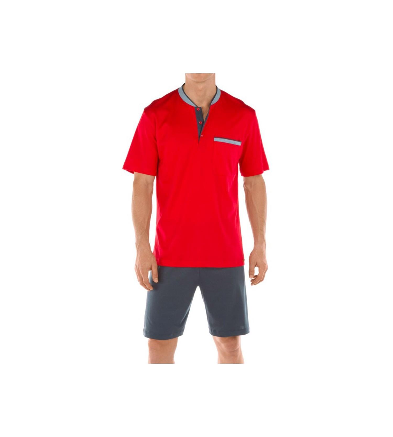 pyjama court pour homme casablanca rouge lingerie sipp. Black Bedroom Furniture Sets. Home Design Ideas