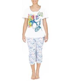 Pyjama corsaire manches courtes BLANC