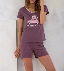 Pyjashort femme 2 Chevaux PRUNE