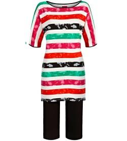 Pyjama corsaire rayé femme VERT FUSHIA