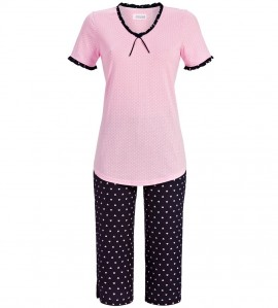 Pyjama corsaire petits coeurs MARINE ROSE