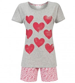 Pyjashort imprimé coeurs GRIS
