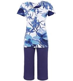 Pyjama corsaire imprimé floral BLANC/BLEU