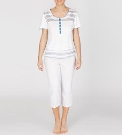 Pyjama corsaire pour femme BLANC/CIEL
