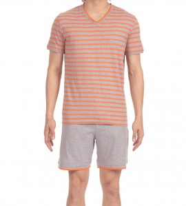 Pyjama short pour homme Charismatic GRIS ORANGE