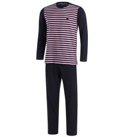 Pyjama long rayé bicolore D85 MARINE ROSE