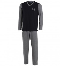 Pyjama bicolore col V pour homme 20 NOIR