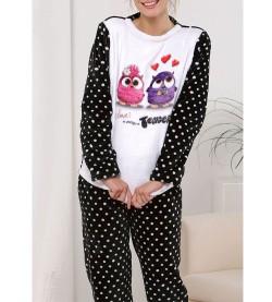 Pyjama hibou pour femme NOIR/ROSE
