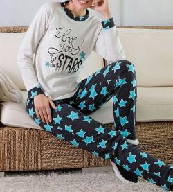 Pyjama Etoiles pour femme GRIS/TURQUOISE