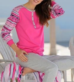Pyjama hibou femme boutonnée GRIS ROSE