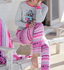 Pyjama hibou pour femme GRIS/ROSE
