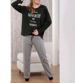Pyjama pour femme Happiness NOIR/GRIS