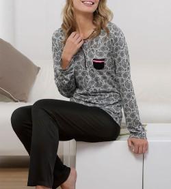 Pyjama boutonné Paisley pour femme NOIR