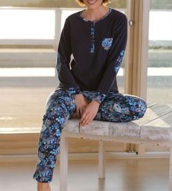 Pyjama fleur boutonné pour femme MARINE