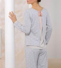 Pyjama pour femme dos fantaisie GRIS/ROSE