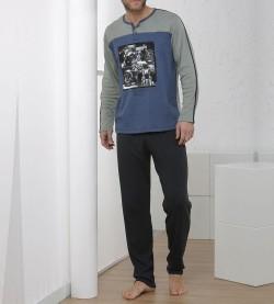 Pyjama pour homme moto BLEU GRIS