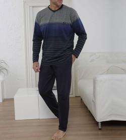 Pyjama rayé pour homme MARINE GRIS