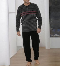 Pyjama raye pour homme NOIR/GRIS