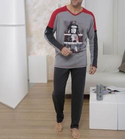Pyjama imprimé pour homme GRIS ROUGE
