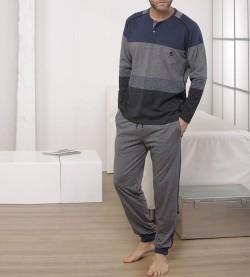 Pyjama boutonné col tunisien BLEU GRIS