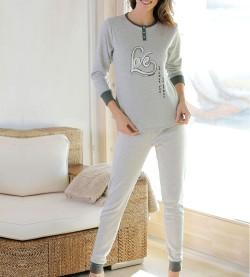 Pyjama boutonné Love pour femme GRIS