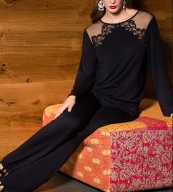 Pyjama modal dos guipure Zoya NOIR 004