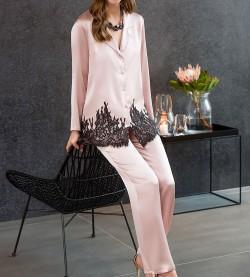 Pyjama satin et dentelle Layla ROSE NOIR