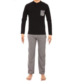 Pyjama long pour homme Geometric NOIR