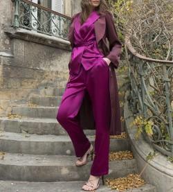 Pyjama boutonné en soie pour femme VIOLINE