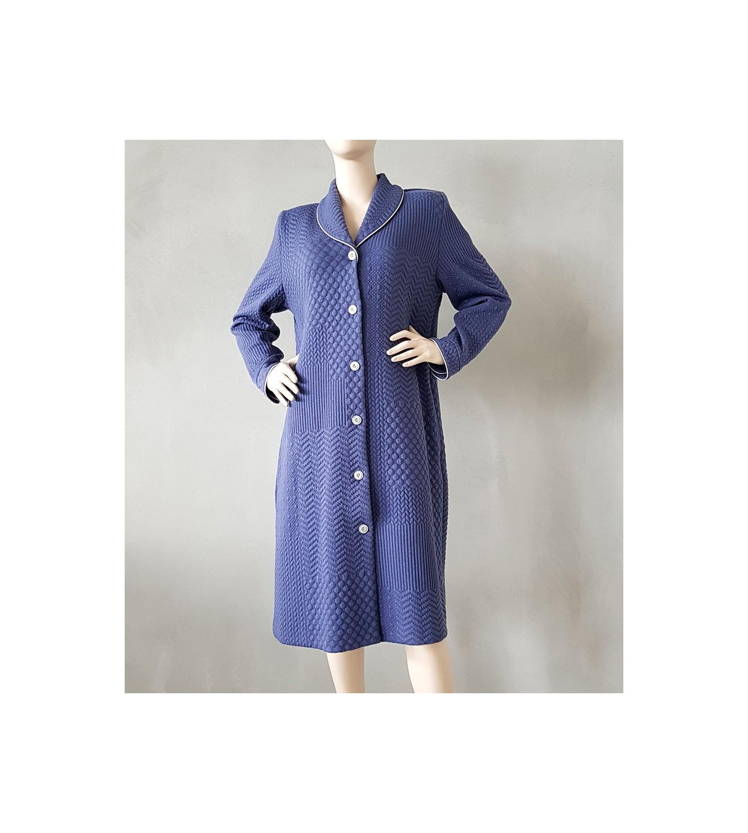 Robe de chambre boutonn e femme 3 bleu lingerie sipp - Robe de chambre canat femme ...