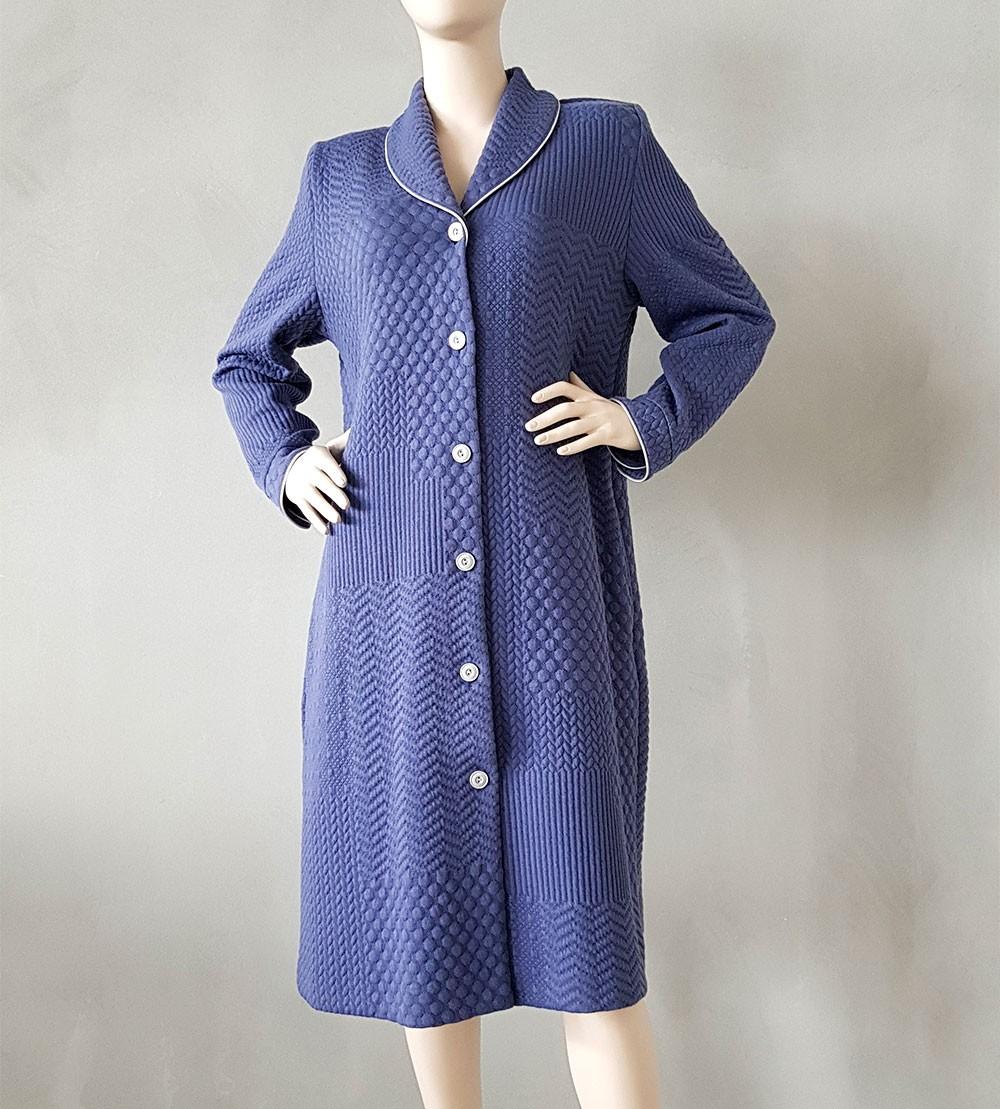 Robe De Chambre Boutonnée Femme 3 Bleu Lingerie Sipp