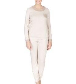 Pyjama manches longues pour femme BEIGE