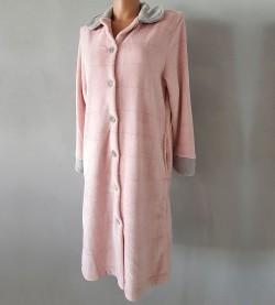 Robe de chambre femme en pilou GRIS/ROSE