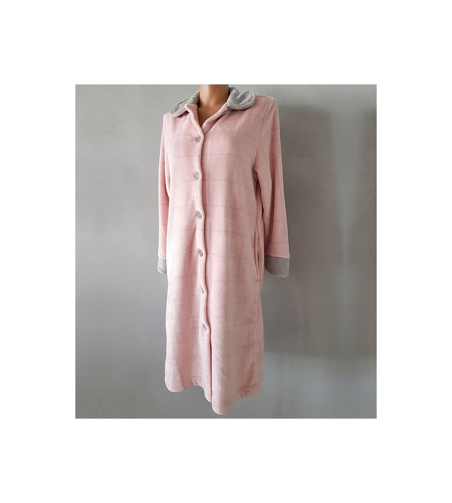 Robe de chambre femme en pilou gris rose lingerie sipp - Femme en robe de chambre ...