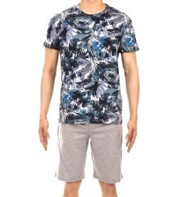 Pyjama court Jungle pour homme BLEU