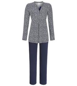Pyjama boutonné pour femme BLANC/BLEU