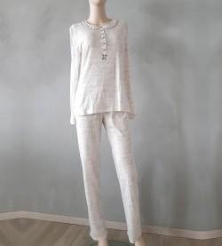 Pyjama pour femme imprimé BEIGE GRIS