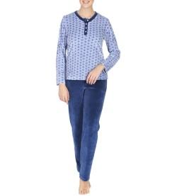 Pyjama velours pour femme 3 BLEU