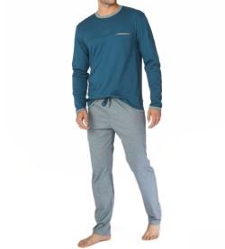 Pyjama homme manches longues Steve GRIS/BLEU