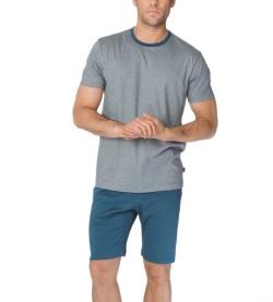 Pyjama court Steve pour homme GRIS/BLEU