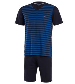 Pyjama court rayé pour homme C01 MARINE BLEU