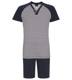 Pyjama court rayé pour homme MARINE BLANC