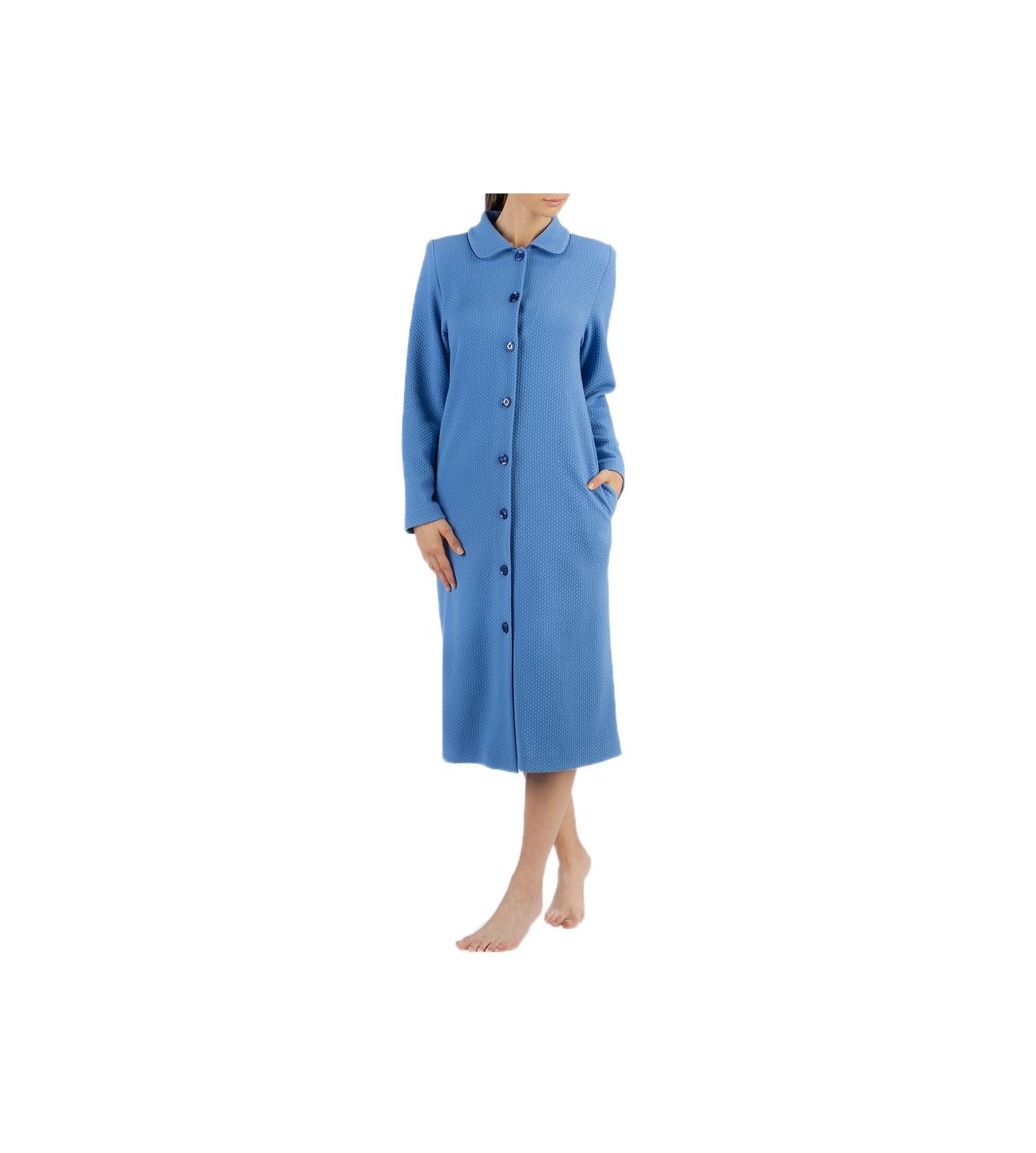 Robe boutonn e pour femme bleu egatex lingerie sipp - Robes de chambre de marque ...